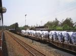 Locomotivas paradas no ptio da Usiminas