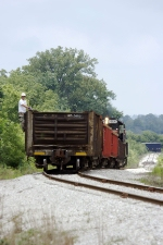 Hoosier Southern 464 Pushing Loaded Gondolas up the Hill