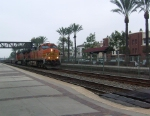 A BNSF train coming through Fullerton