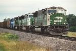 Westbound coal train departs yard