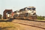 Westbound empty coal train departs yard