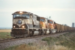 Eastbound coal train just at sunset