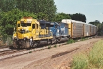 Westbound vehicle train passes Union