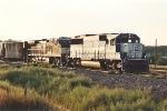 Eastbound grain train departs yard