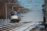 A westbound Amtrak flies west on a bitterly cold New Year's Day.