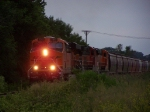 BNSF 7213 Leads a Unit Grain Train from O'Neill to Sioux City on the Nebraska Northeastern Line Just Before Dark
