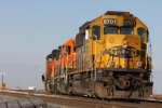 BNSF 8701 and two fellow geeps backing into the south end of the Flynn Yard
