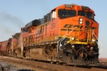 BNSF 7574 heads up onto the high iron for the trip south to Texas