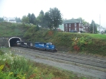 Norfolk Southern 3347, 3342, and 7575 coming out of Gallitzin Tunnel