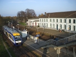 A Veolia Verkehr owned LINT stops at Vienenburg one of the oldest standing train stations in Germany