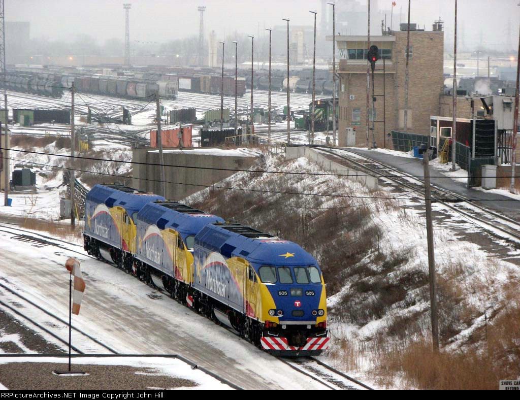 "090103002 Northstar MNRX 505-503-504 on the ""No Hump"" track at BNSF Northtown"