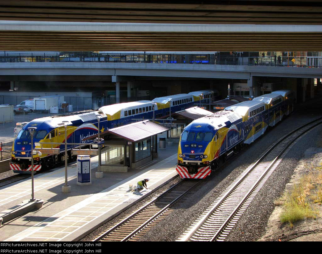 091109016 Northstar MNRX commuter trains staged for practice departure from Target Field Station