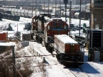 090105004 BNSF #1719 SD39 Slug-set has an SD40-2 helper on the Northtown Yard hump this winter day