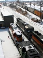 """090222022 BNSF 9647 """"Vomit Bonnet"""" arrives at Northtown diesel shop"""