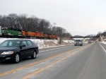 "090303001 Pacing westbound BNSF manifest on newly-opened Hwy 12 ""Bypass"" following relocated Wayzata Sub."