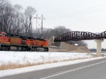 090303002 Westbound BNSF train on Wayzata Sub. passes under Luce Line Trail bridge using former Minnesota Western right of way