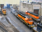 090320002 BNSF 6877-1850-6821 AMTK 62 at Northtown diesel shop