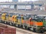 "090401018 Deadline of stored BNSF locos at Northtown ""T"" Yard"