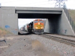 090429012 Northbound BNSF freight passes under Hwy 610 bridge near CTC Coon Creek