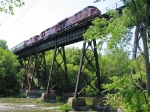 090524010 Westbound CP freight crosses ex-SOO bridge over Crow River