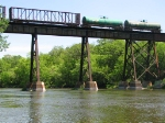 090524035 Westbound CP freight crosses ex-SOO bridge over Crow River