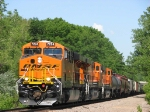 "090531001 Triple set of Swoosh GEVOs lead eastbound BNSF ""junk"" train on Wayzata Sub."
