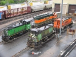 090606001 BNSF locos gather at Northtown Yard diesel shop