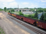 090709012 Northbound BNSF all-rail taconite empties diverge onto Hinckley Sub. at Coon Creek