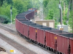090709013 Northbound BNSF all-rail taconite empties diverge onto Hinckley Sub. at Coon Creek