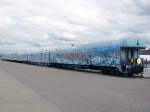 "090718116 Disney ""A Christmas Carol"" promotional train parked at Amtrak Midway station"