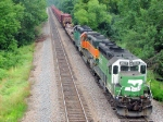 090721003 Eastbound BNSF ribbonrail train waits in passing siding