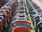 "090731027 Lineup of stored locos at BNSF Northtown ""T"" Yard."