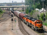 090803002 Eastbound BNSF freight with rare all orange SD40-2 lashup passes St. Anthony Jct.