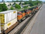 "090803022 Eastbound BNSF freight on Midway Sub. passes ""Koppers Footbridge"""