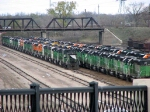 091030017 Lineup of stored locos at BNSF Northtown &quot;T&quot; Yard