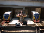091109010 Northstar MNRX commuter trains staged for practice departure from Target Field Station