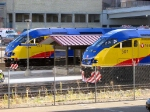 091109018 Northstar MNRX commuter trains staged for practice departure from Target Field Station