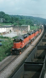 Westbound Bessemer & Lake Erie Railroad (BLE) Mixed Freight Train
