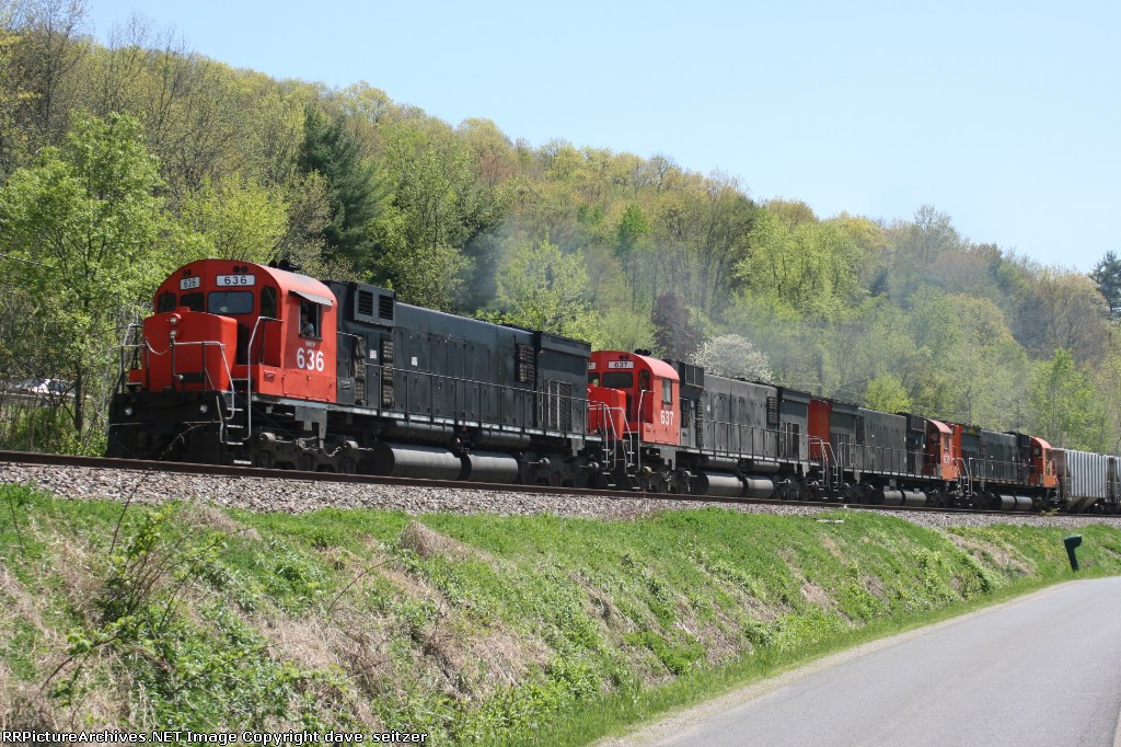 Count'em! 4 M636's headed North on DFT at Eldred,PA