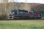 A trio of leased SD40-2's lead DFT-17 South out of Olean,NY