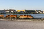 A BPRR train passes Heinz fiels as it moves along the river front.