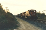 Eastbound grain train near sunset