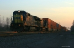 CSX Q164 with standard cab leader at sunset