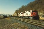 Eastbound grain train passes Hoffman