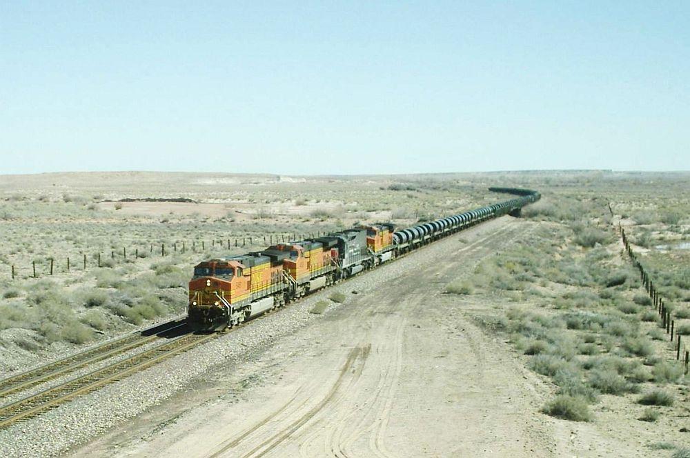 BNSF 5461 pulling a steel train