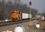 BNSF 5973 brings up the rear of our second rerouted TXUX coal train and the sun is falling fast