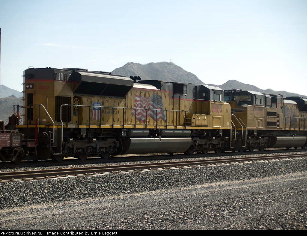 UP 8403 #1 rear DPU in a WB doublestack at 10:38am
