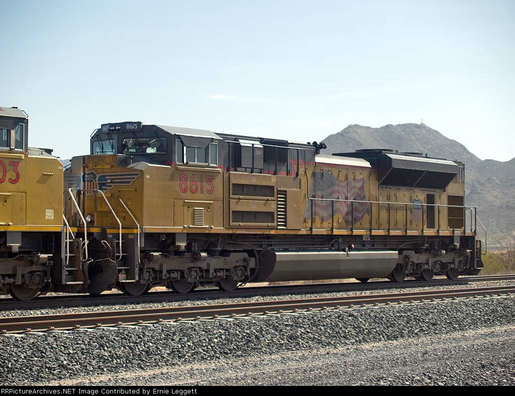 UP 8615 #2 rear DPU in a WB doublestack at 10:38am