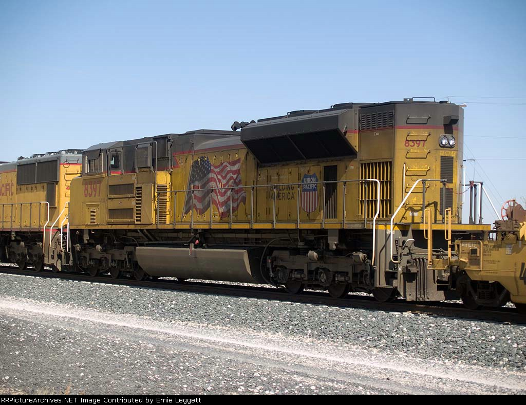 UP 8397 #1 rear DPU in an EB doublestack at 10:58am