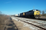 CSX 123 and SD40-2 on A746 prepares to set out high wide loads at West Point woodyard.